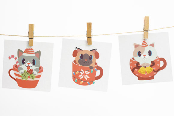 Christmas Cute Cat in Cup Clipart Graphic Design