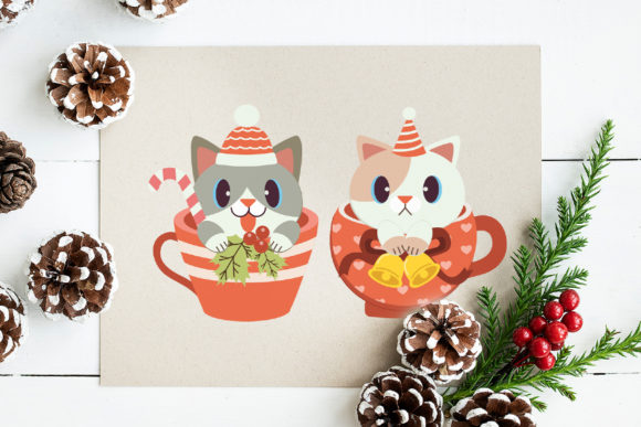 Christmas Cute Cat in Cup Clipart Graphic Preview