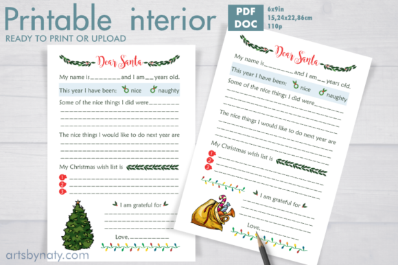 Print on Demand: Christmas Letters to Santa KDP Interior. Graphic KDP Interiors By artsbynaty
