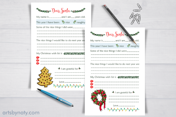 Christmas Letters to Santa KDP Interior. Graphic Download