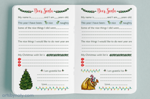Christmas Letters to Santa KDP Interior. Graphic Item