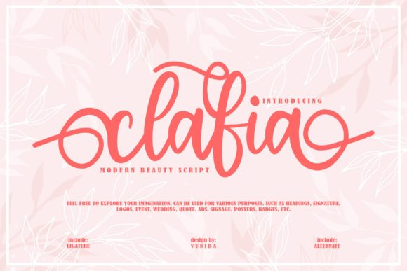 Print on Demand: Clafia Script & Handwritten Font By Vunira