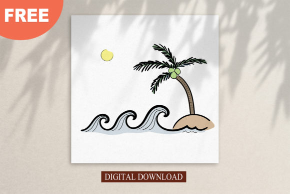 Print on Demand: Ocean Waves on the Island Graphic Logos By Saydung89
