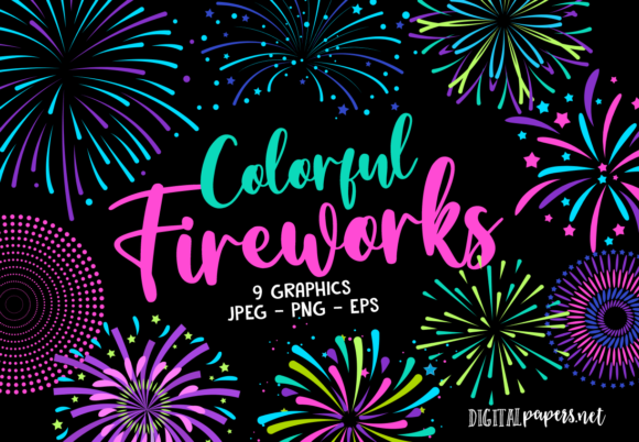 Print on Demand: Colorful Fireworks Graphic Illustrations By DigitalPapers