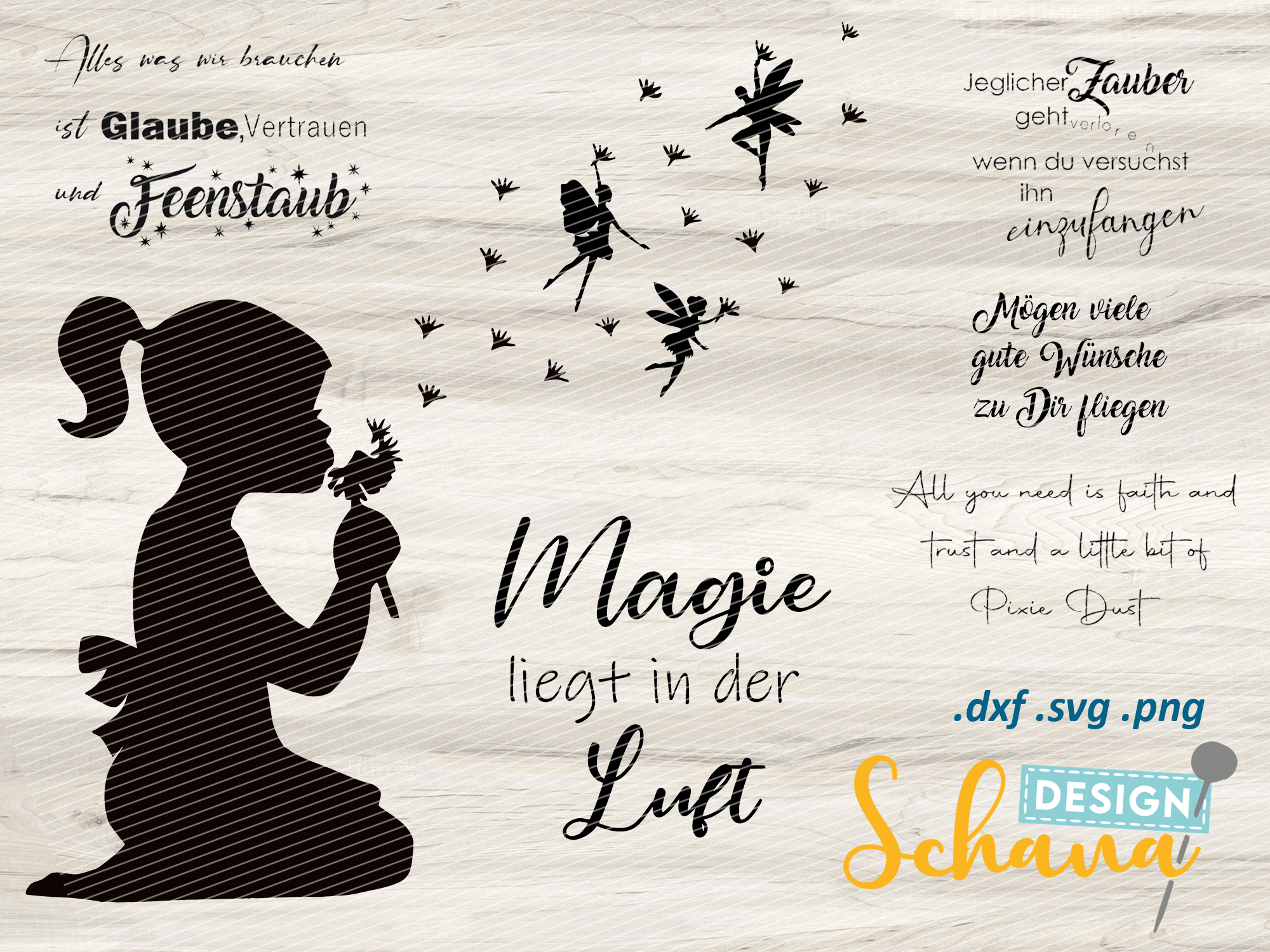 Cut File Dandelion Wishes with Fairies SVG File