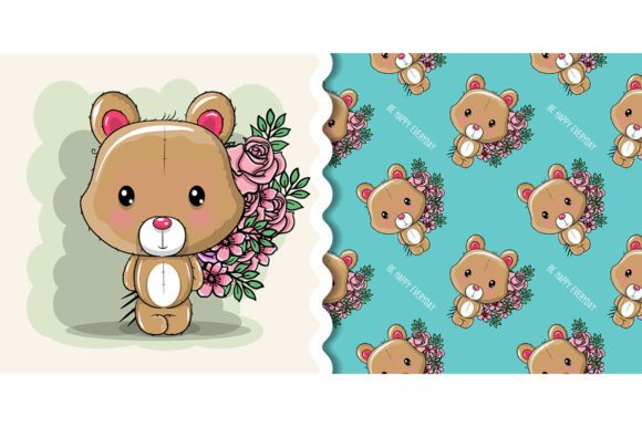 Cute Cartoon Bear on a White Background Graphic Illustrations By maniacvector