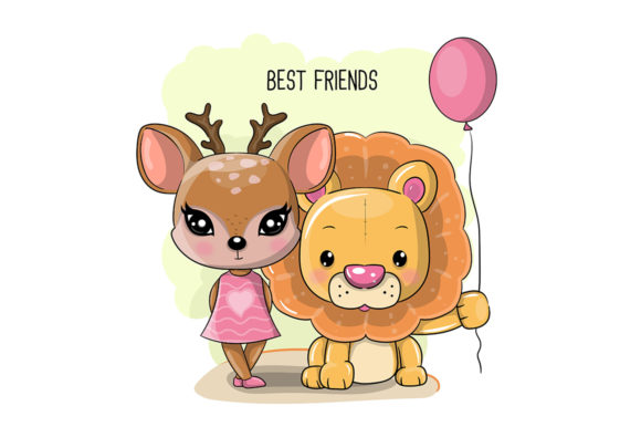 Cute Cartoon Deer and Lion Graphic Illustrations By maniacvector