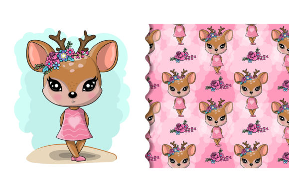 Cute Cartoon Deer Isolated Graphic Illustrations By maniacvector