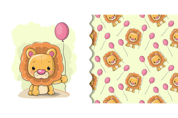Cute Cartoon Lion on a White Background Graphic Illustrations By maniacvector