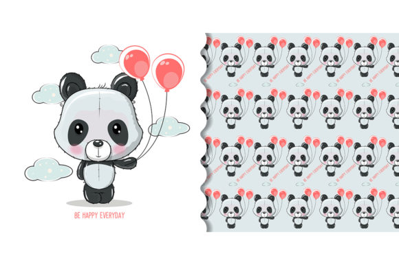 Cute Cartoon Panda Isolated Graphic Illustrations By maniacvector