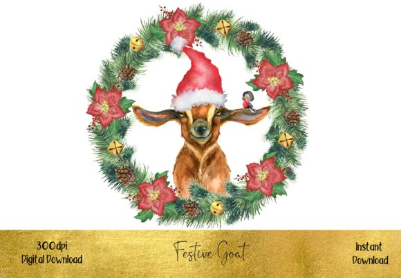 Cute Christmas Goat Graphic Illustrations By STBB