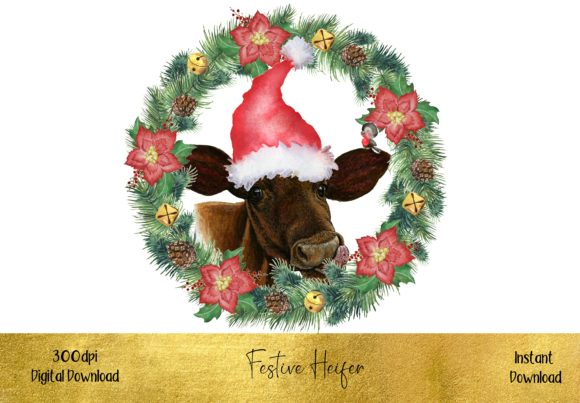 Cute Christmas Heifer Graphic Illustrations By STBB