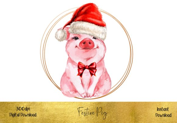 Cute Christmas Pig Graphic Illustrations By STBB