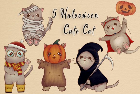 Print on Demand: Cute Halloween Cat Illustrations Clipart Graphic Illustrations By StudioAngelArts