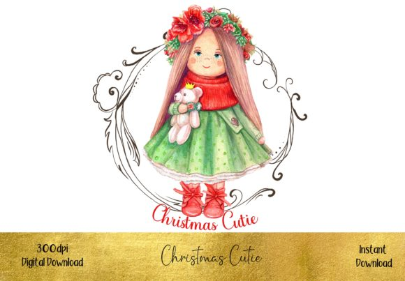 Cute Little Christmas Girl Graphic Illustrations By STBB