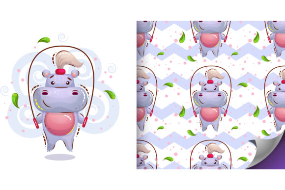 Cute Girl Hippo Graphic Illustrations By Анна Конева
