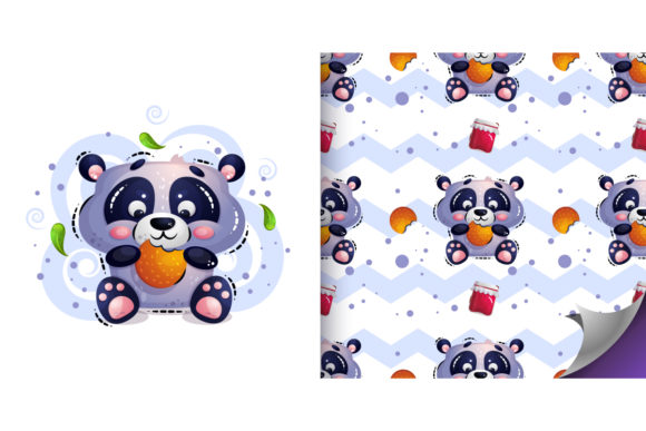 Cute Hungry Panda Graphic Illustrations By Анна Конева