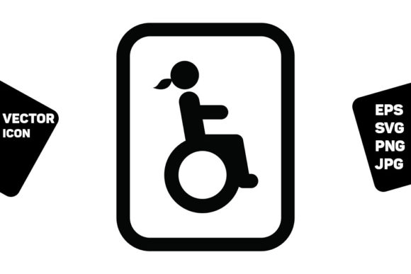 Print on Demand: Disabled Woman Symbol Icon Vector Graphic Icons By TukTuk Design