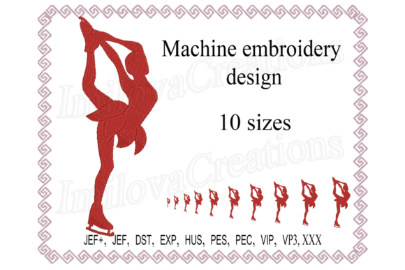 Figure Ice Skater Design Sports Embroidery Design By ImilovaCreations