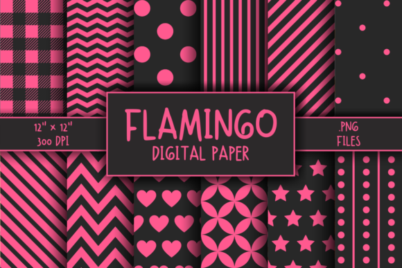 Print on Demand: Flamingo Pattern Digital Paper Graphic Patterns By atlasart