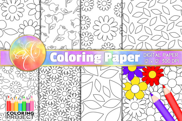 Flowers Coloring Paper Graphic Backgrounds By paperart.bymc