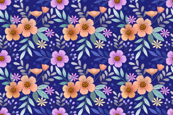 Flowers on Blue Background Pattern. Graphic Patterns By ranger262