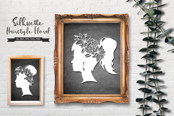 Girl with Floral Hair Silhouette SVG Graphic Crafts By AllmoStudio