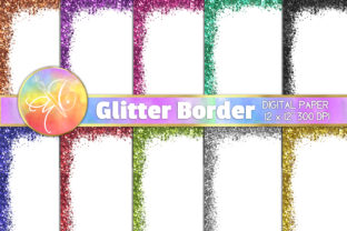Glitter Border Digital Paper Graphic Backgrounds By paperart.bymc