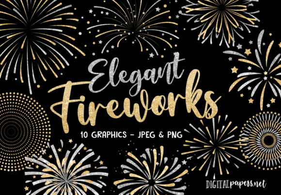 Print on Demand: Gold and Silver Fireworks Graphic Illustrations By DigitalPapers
