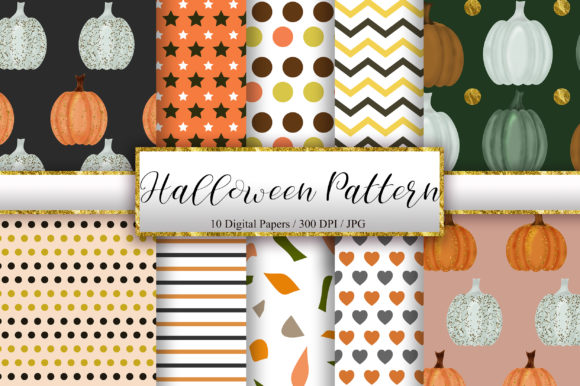 Halloween Seamless Pattern Digital Paper Graphic Backgrounds By PinkPearly