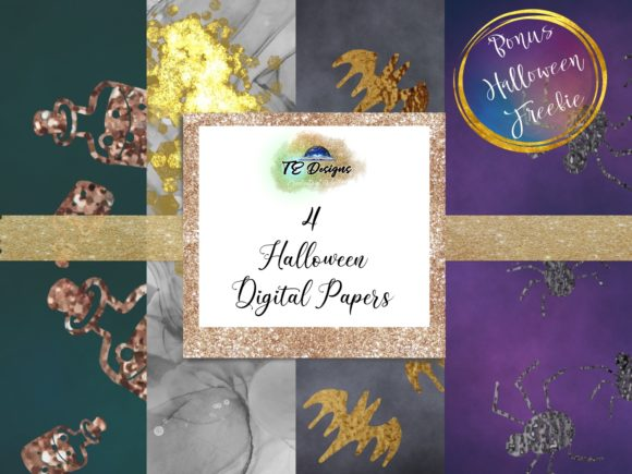 Print on Demand: Halloween Spooky Digital Papers FREEBIE Graphic Backgrounds By TE Designs