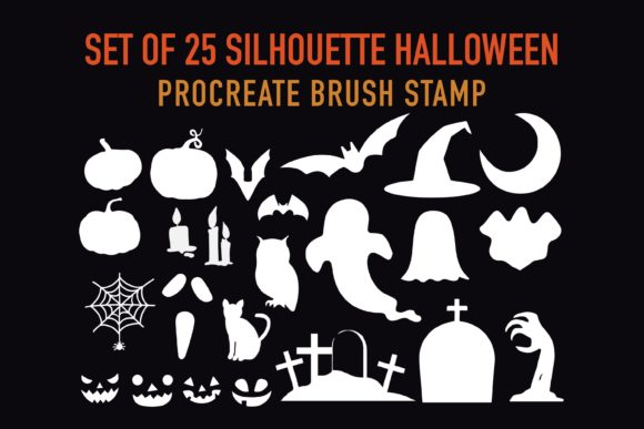 Print on Demand: Halloween Stamps Brushes for Procreate Graphic Brushes By Duckyjudy