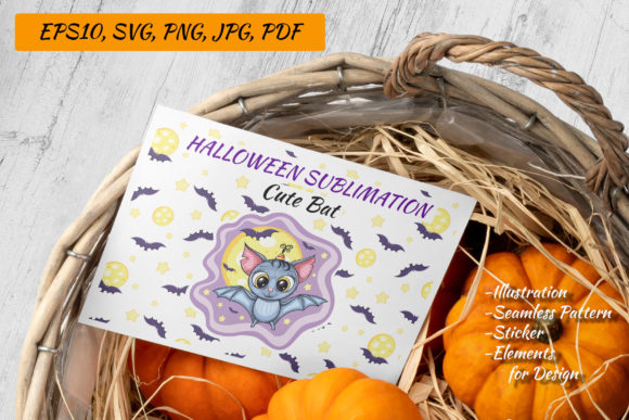 Print on Demand: Halloween Sublimation | Cute Bat Graphic Illustrations By pufanya