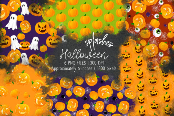 Print on Demand: Halloween Watercolor Splashes 05 Graphic Illustrations By loyaarts