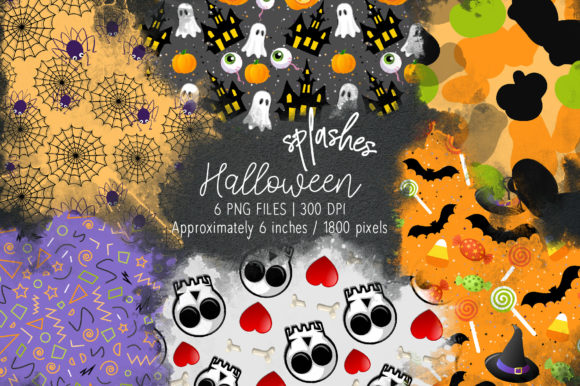 Print on Demand: Halloween Watercolor Splashes 09 Graphic Illustrations By loyaarts