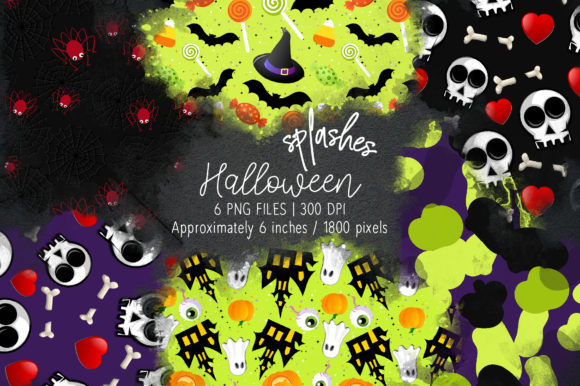 Print on Demand: Halloween Watercolor Splashes 10 Graphic Illustrations By loyaarts