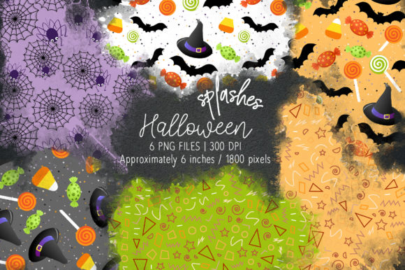 Print on Demand: Halloween Watercolor Splashes 12 Graphic Illustrations By loyaarts
