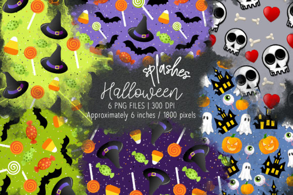 Print on Demand: Halloween Watercolor Splashes 14 Graphic Illustrations By loyaarts
