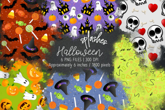 Print on Demand: Halloween Watercolor Splashes 16 Graphic Illustrations By loyaarts