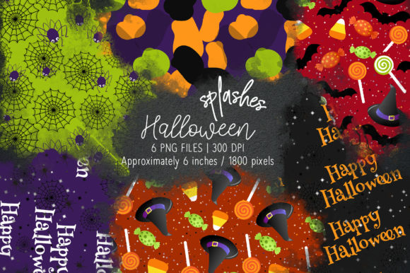 Print on Demand: Halloween Watercolor Splashes 18 Graphic Illustrations By loyaarts
