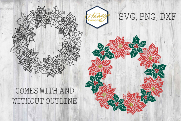 Hand Drawn Poinsettia Flower Wreath SVG Graphic Crafts By The Honey Company
