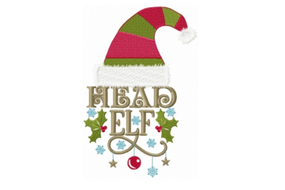 Head Elf Christmas Embroidery Design By Sew Terific Designs