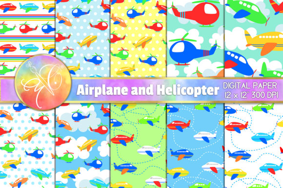 Helicopter and Planes Digital Paper Graphic Backgrounds By paperart.bymc