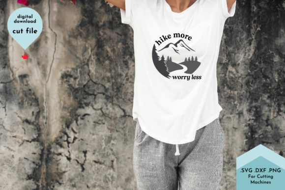 Print on Demand: Hike More Worry Less - Hiking Shirt Graphic Crafts By Lettershapes