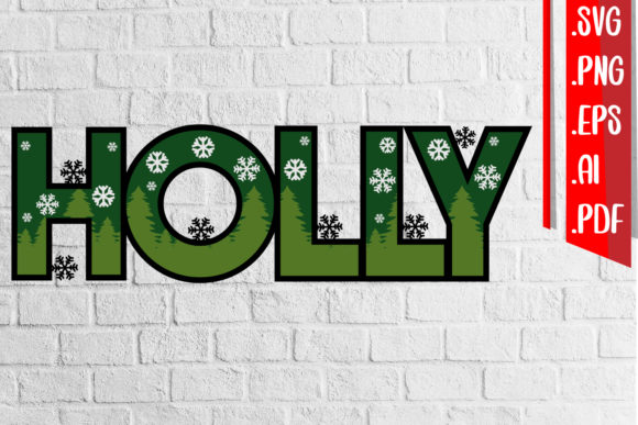 Holly Layered 3D Cut Svg Eps Ai Png File Graphic