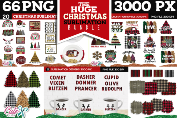 Huge Christmas Sublimation Bundle Graphic Print Templates By Cute files