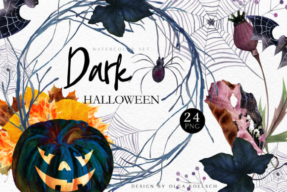 Kawaii Halloween Pumpkin Clipart Spooky Graphic Illustrations By Olga Koelsch