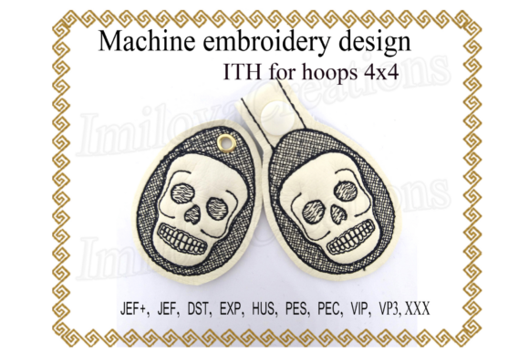 Key Fob Skull - in the Hoop Embroidery