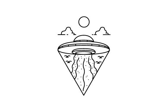 Print on Demand: Line Art Ufo Design Illustration Vector Graphic Illustrations By Muhammad Rizky Klinsman