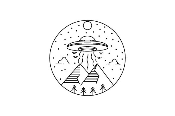 Print on Demand: Line Art Ufo with Mountain and Clouds Graphic Illustrations By Muhammad Rizky Klinsman